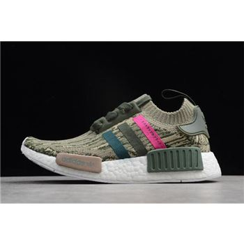 Adidas NMD R1 Primeknit Green Night/Shock Pink BY9864