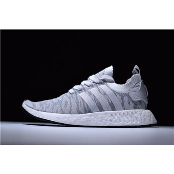 Adidas NMD R2 Primeknit White/Grey-Red Men's and Women's Size BY9410